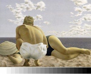 "Alex Colville, ""Couple on Beach"" (1957). Casein tempera on masonite, National Gallery of Canada"