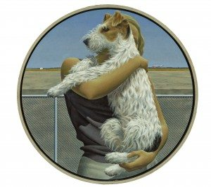 "Alex Colville, ""Woman and Terrier"" (1963). Acrylic polymer emulsion on hardboard, private collection"