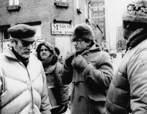 Dunning with David Cronenberg on the set of Rabid on Prince Arthur Street in Montreal in 1974. Courtesy of McQuill-Queen's University Press.