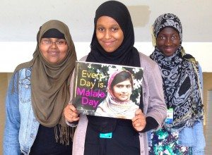 Students with Malala book at Central Tech
