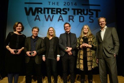 Prize recipients Joan Thomas, Cary Fagan, Miriam Toews, Ken Babstock, Susan Musgrave, and Tyler Keevil at the Writers' Trust Awards (photo: Tom Sandler)
