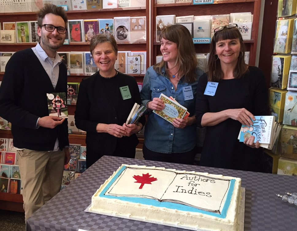 Authors Lee Henderson, Arleen Paré, Emily Urquhart, and Sara Cassidy at Munro's Books on the inaugural Authors for Indies Day in 2015