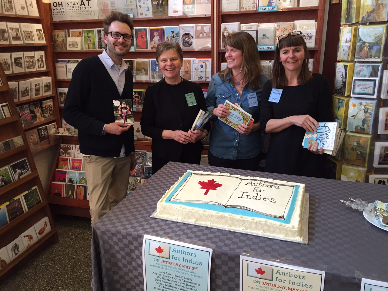 Authors Lee Henderson, Arleen Paré, Emily Urquhart, and Sara Cassidy at Munro's Books on last Authors for Indies Day