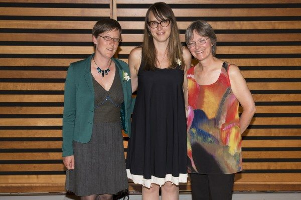 Trillium Book Award winners Brecken Hancock (English language poetry), Kate Cayley (English language), and Micheline Marchand (English language children's literature).