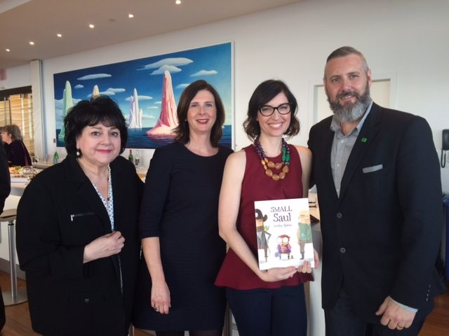 Canadian Children's Book Centre executive director Charlotte Teeple, Kids Can Press president Lisa Lyons Johnston, Ashley Spires, TD Bank Group community relations director Alan Convery.