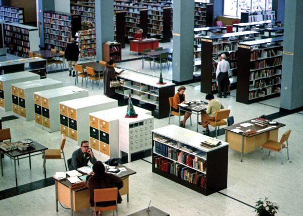 The Central Branch's reference desk (lower left) and main floor, 1963 (Photo: City of Regina Archives)