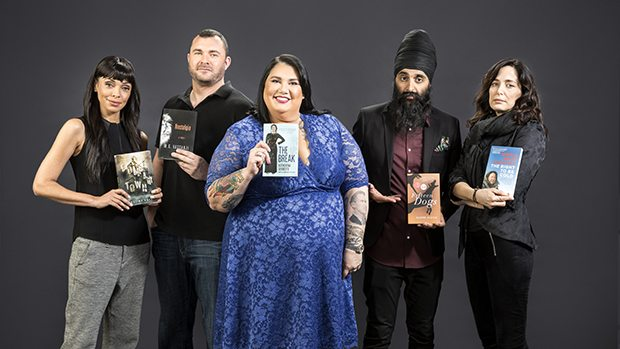 The 2017 Canada Reads panellists: Tamara Taylor, Jody Mitic, Candy Palmater, Humble The Poet, and Chantal Kreviazuk (CBC Books)